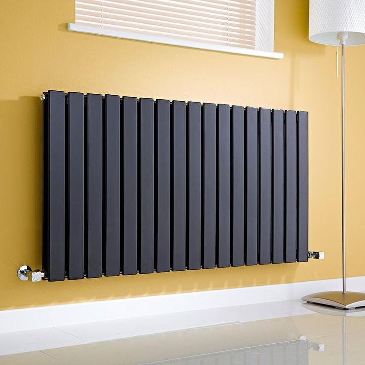 Milano Alpha Slim Panel Double Horizontal Radiator - http://www.bestheating.com/milano-alpha-black-horizontal-double-slim-panel-designer-radiator-635mm-x-1190mm.html