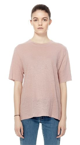 COMMONERS W LUXE LINEN SS TEE ROSE-view all -AREA 51