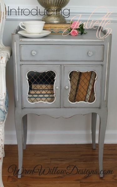 I painted this gorgeous side table in Amy Howard One Step paint...Atelier. The PERFECT French grey. (Has a blue undertone):