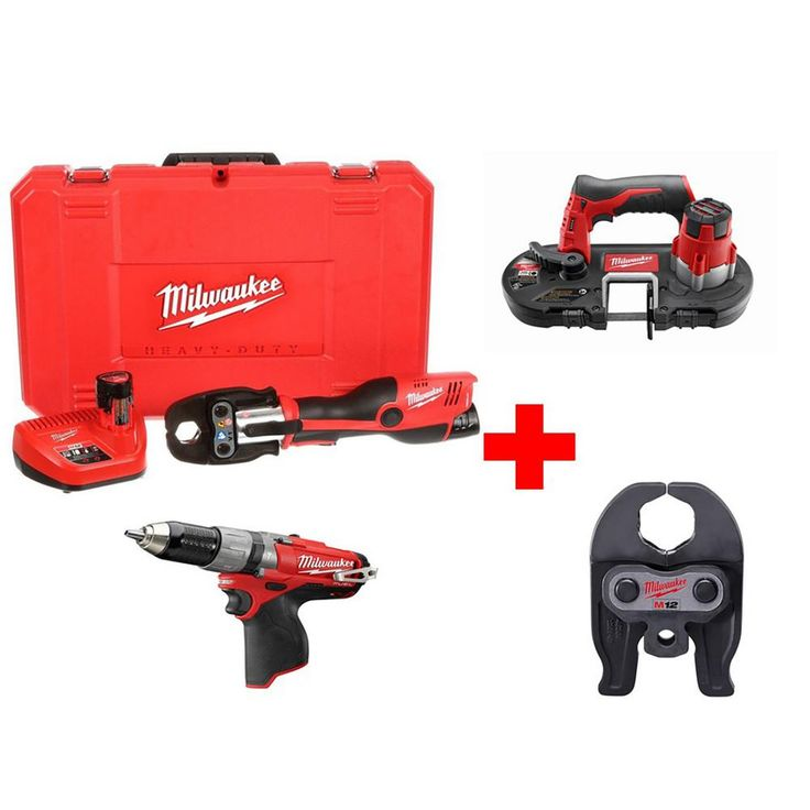 Milwaukee M12 12-Volt Lithium-Ion Cordless Force Logic Press Tool Kit (4 Jaws included) with Free Bandsaw, Fuel Hammer Drill