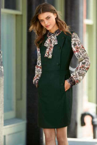Buy Green 2 In 1 Shirt Layer Button Dress from the Next UK online shop