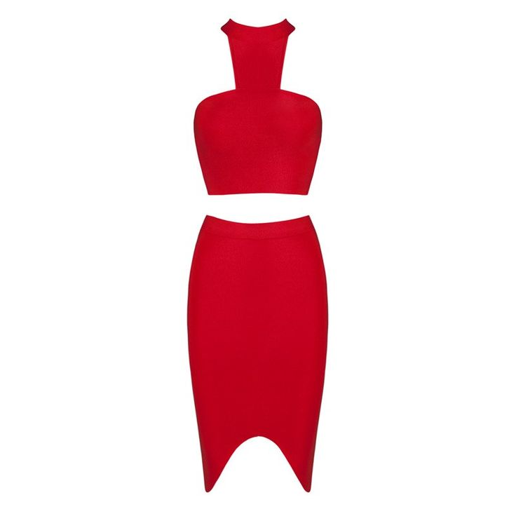 LAURA LUX TWO PIECE BANDAGE SET- RED