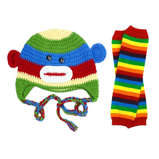 Rainbow Monkey Hat Leg Warmer Set Baby Hats Knit