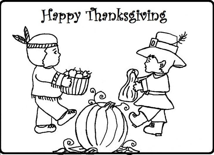 Two Children Of Indian And Pilgrim Celebrating Thanksgiving Coloring Sheet