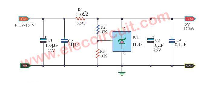 TL431 circuit Adjustable Shunt (zener) Regulator | Power