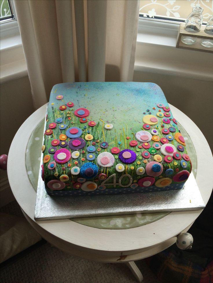 40th birthday cake, flower cake, Yvonne Coomber Cake, painting, painted cake, by Miranda Barlow