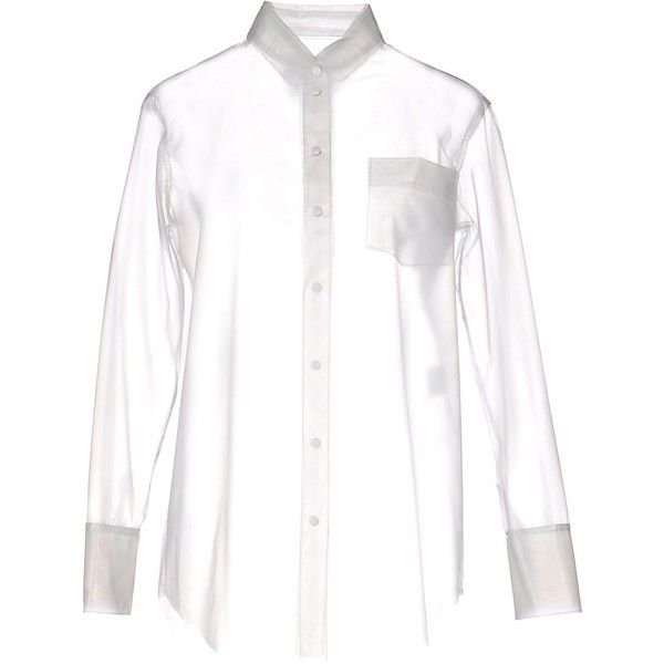 Trou Aux Biches Shirt ($65) ❤ liked on Polyvore featuring tops, transparent, transparent shirt, white long sleeve top, long sleeve shirts, white long sleeve shirt and extra long sleeve shirts