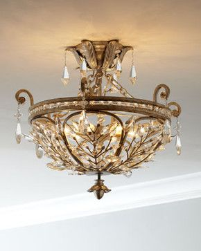 Crystal Leaf Semi-Flush-Mount Ceiling Fixture traditional-ceiling-lighting