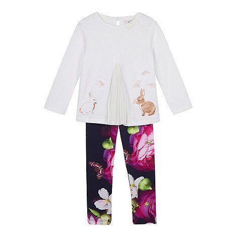 Baker by Ted Baker Girls' off white bunny print top and leggings set | Debenhams