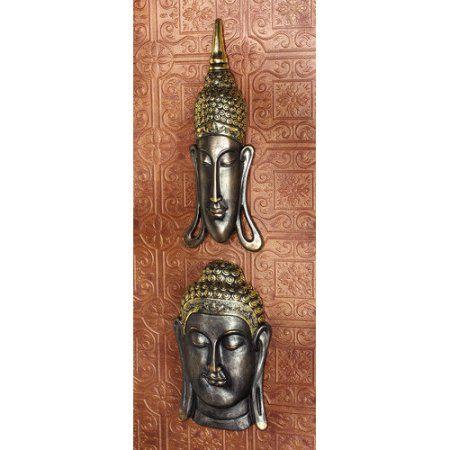 Sukhothai and Bodh Gaya Buddhas Asian Wall Sculptures: Set of Two, Bronze