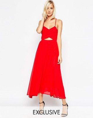 Lavish Alice Floaty Midi Dress with Wrap Lace Up