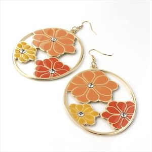 Gold colour orange and yellow tone flower round earring.