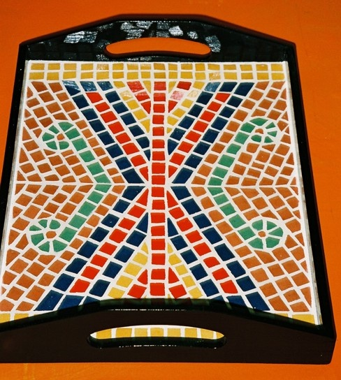 Mosaic tray. Geometric pattern.