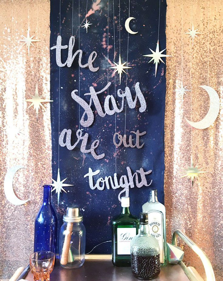 Celestial Wedding Cocktail Cart Backdrop - The stars are out tonight.