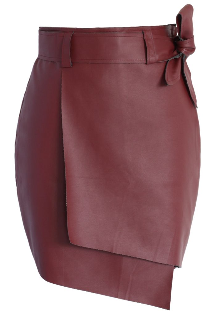 Bowknot Faux Leather Flap Skirt in Wine - Retro, Indie and Unique Fashion