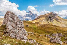 Pelmo and Mondeval mountains - stock photo