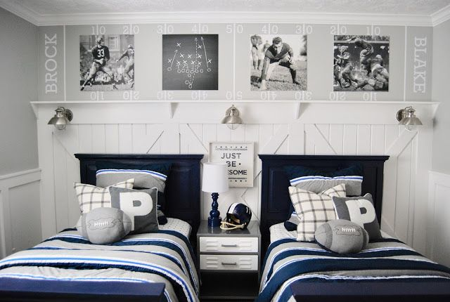 Boy S Bedroom Make Over With A Football Theme Colors Of The Room