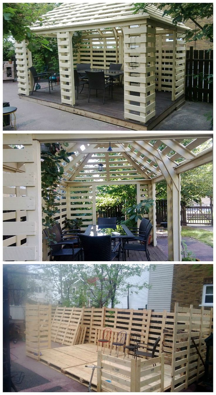 Pavilion Made From Recycled Pallets #Garden, #PalletHut, #Pavilion, #RecycledPallet