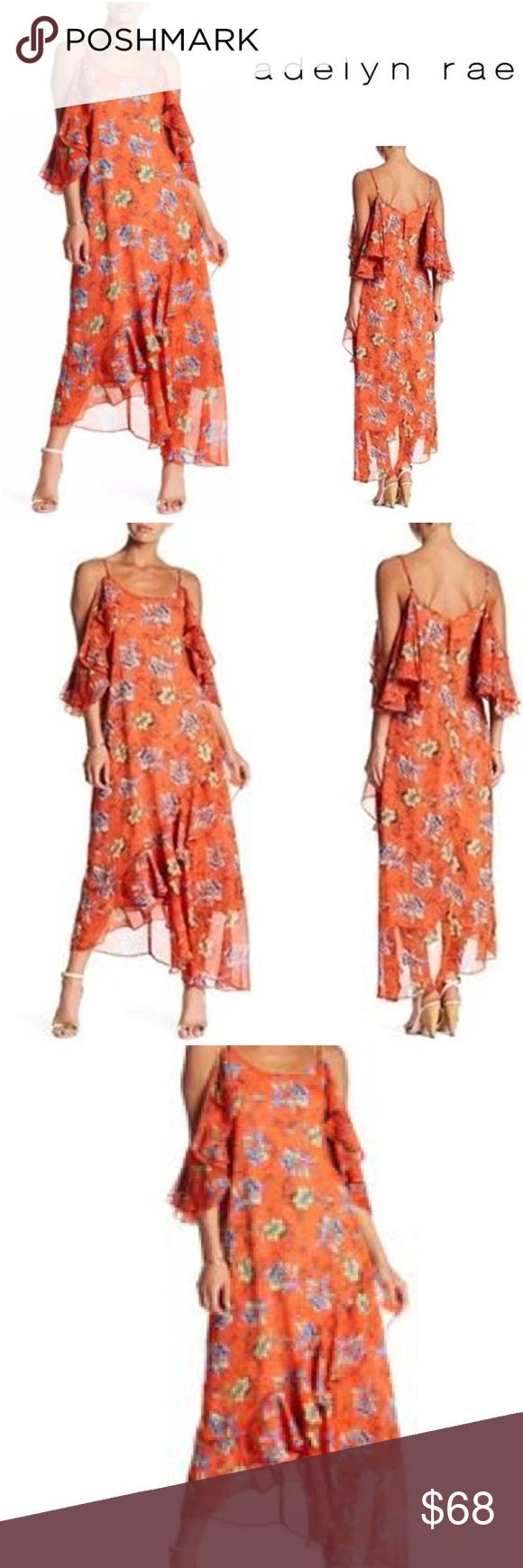 """New Adelyn Rae Printed Frill Midi Dress New with tags, Adelyn Rae Printed Frill Midi Dress  Size Small Bust: 34.5"""" Waist: 27.5"""" Hips: 38""""  Originally bought for a client, I'm currently cleaning out my client closets. Open to offers on bundles. 15% off bundles of 3+. Shipping cost is the same with one or multiple items!   Free gift with every purchase! Your purchase goes towards the non-profit organization I'm founding! <3 Adelyn Rae Dresses Midi"""