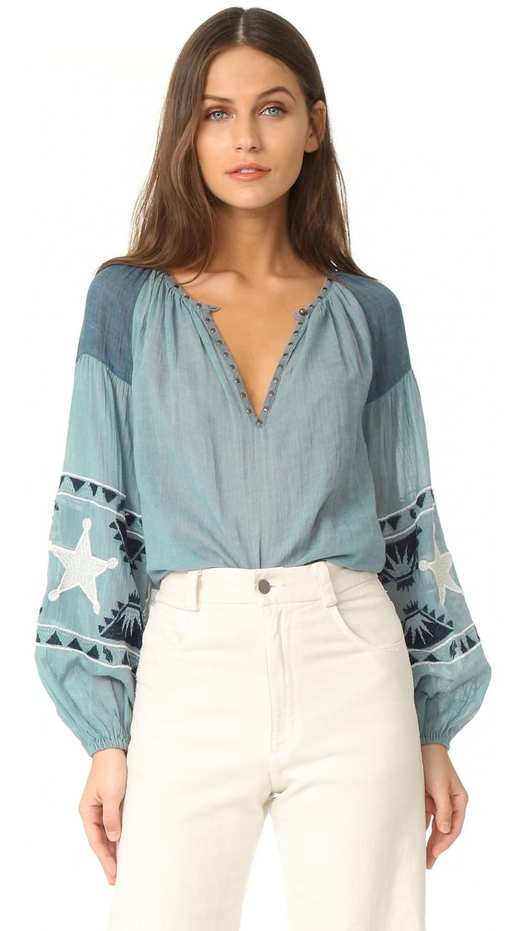 Scotch & Soda/Maison Scotch Women's Embroidered blouse, Blue, Petite