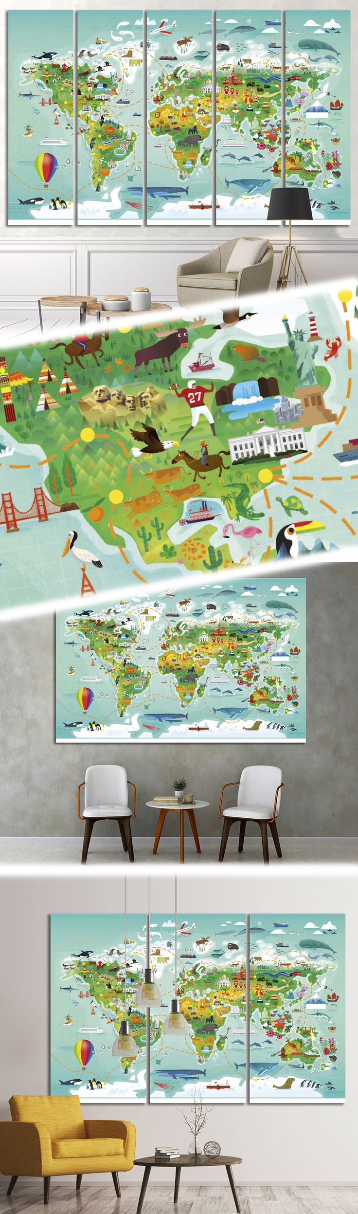 World map for kids32 Framed Canvas Print