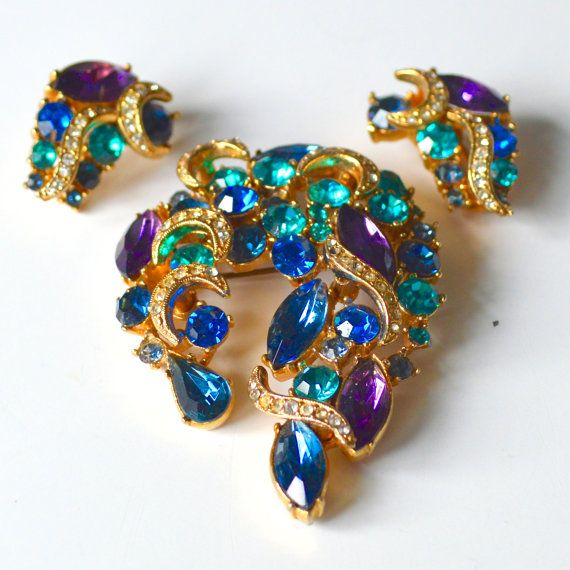 Brooch and Earrings Set 1950s Signed SPHINX  Large by TeaJay