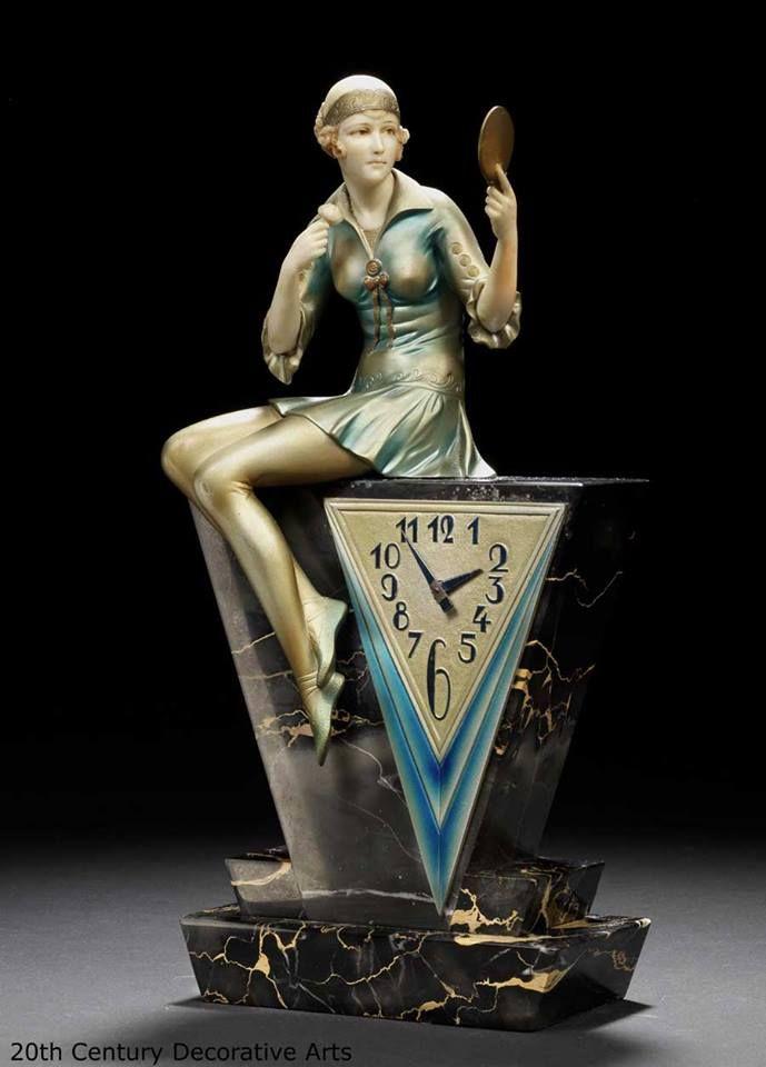 """Powder Puff"" an Art Deco clock by Ferdinand Preiss, Germany circa 1930."