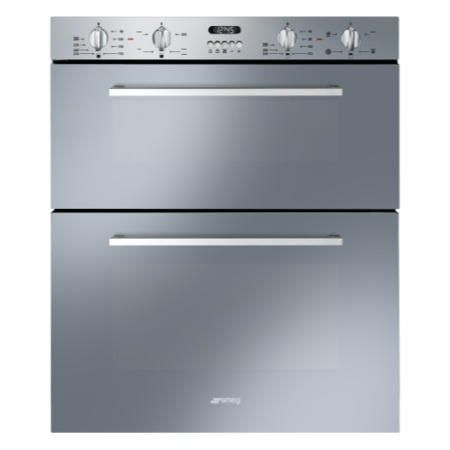 GRADE A1 - Smeg DUSF44X Cucina 60cm Stainless Steel Double Under Counter Multifunction Oven With New Style Controls 77368905/1/DUSF44X | Appliances Direct