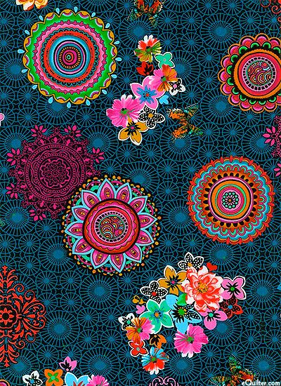 This is the 2014 Hoffman Challenge fabric. Beautiful Kaleidoscopic patterns emblazon this modern, graphic print!