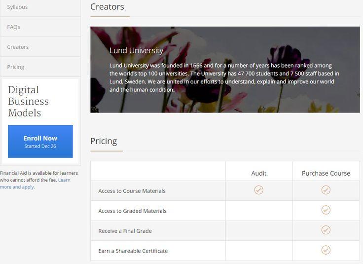 """#Coursera #MOOC-kursen: """"Digital Business Models"""". Försöker förstå prisbilden: https://www.coursera.org/learn/digital-business-models#pricing . När man väl anmäler sig ser man att det kosta 49 dollar att få bevis, men att det är gratis att """"audit"""" (titta!?) https://www.coursera.org/learn/digital-business-models/home/welcome ."""