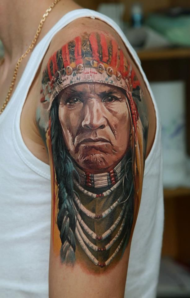 Indian Tattoo by  Dmitriy Samohin Absolutely beautiful! Colors are gorgeous and it is so realistic looking!!!! Love it.