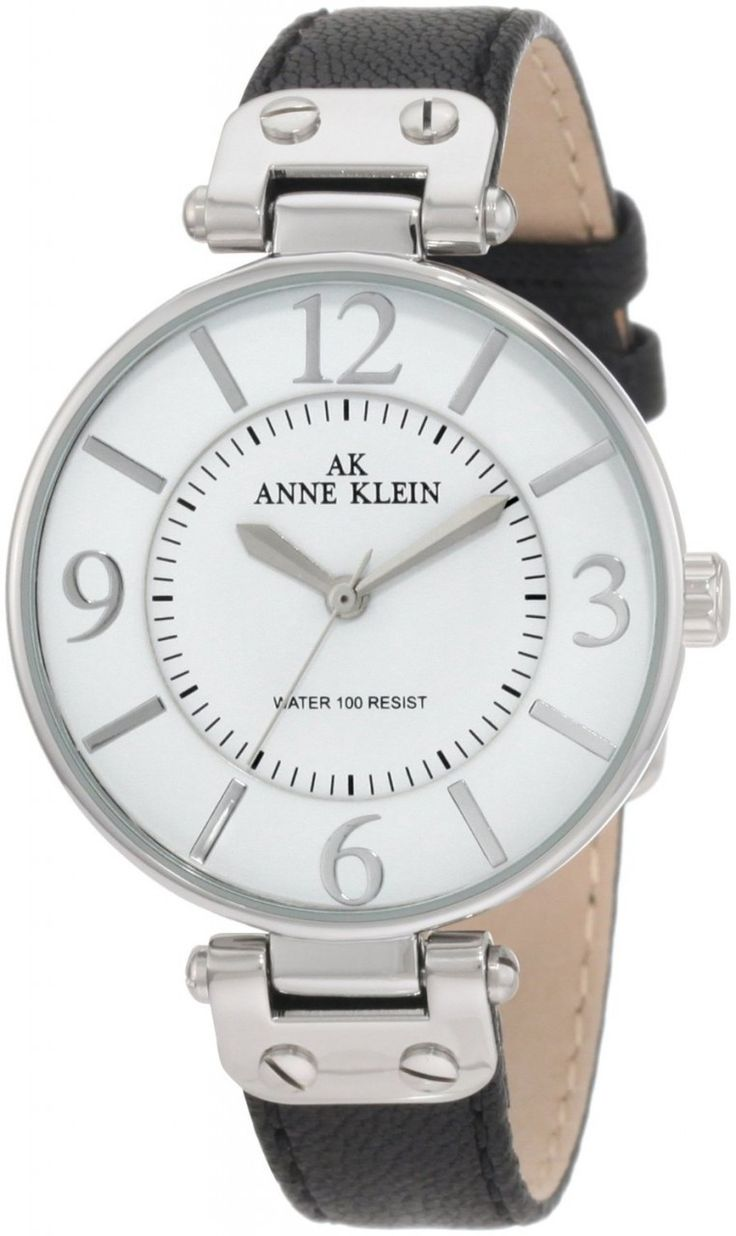 Anne Klein Silver-Tone Round black Leather Strap 109169WTBK - Women's Watch - Watch Direct