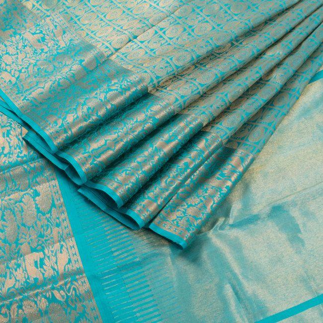 Handwoven Kanchipuram Silk Sari with Mayil Chakaram Motif & Shikargarh Border 10002466 AVISHYA.COM
