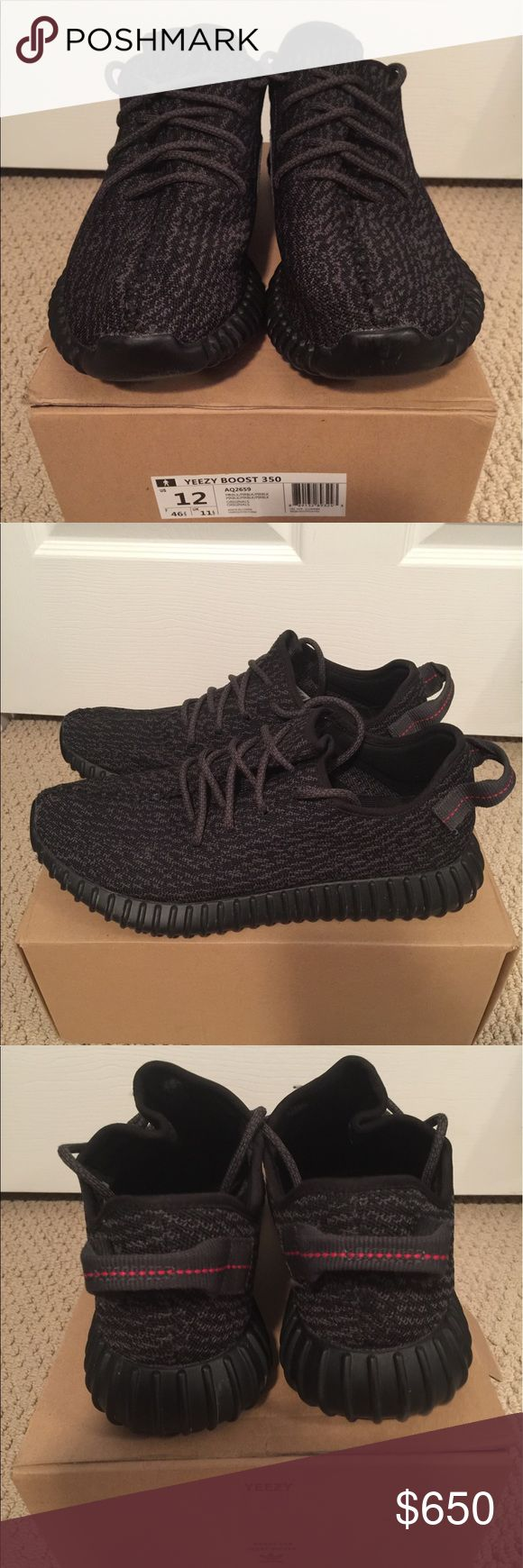 AUTHENTIC Black Kanye West Yeezys, Size 12 AUTHENTIC limited edition black Kanye West Adidas 350 Boost Yeezys, size 12 in excellent condition. Have only been worn a handful of times so they are in excellent condition. Comes with the original receipt from