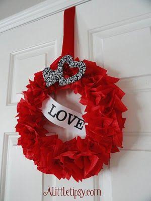 tissue paper wreath for valentines
