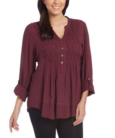 Loving this Fig Button-Front Notch Neck Tunic on #zulily! #zulilyfinds