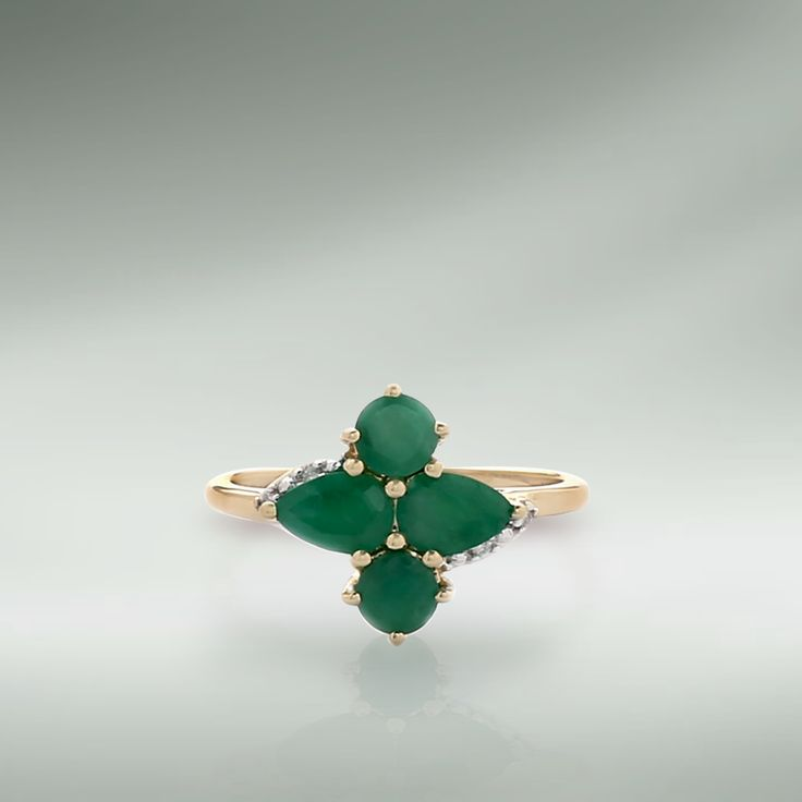 Emerald ring with Diamond in 9K Hallmark Gold   Shipping across India