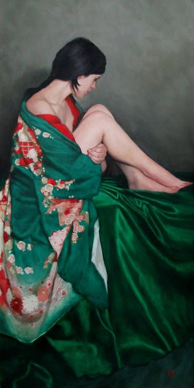 """Stephanie Rew; Oil 2011 Painting """"Seated in green Furisode kimono"""""""