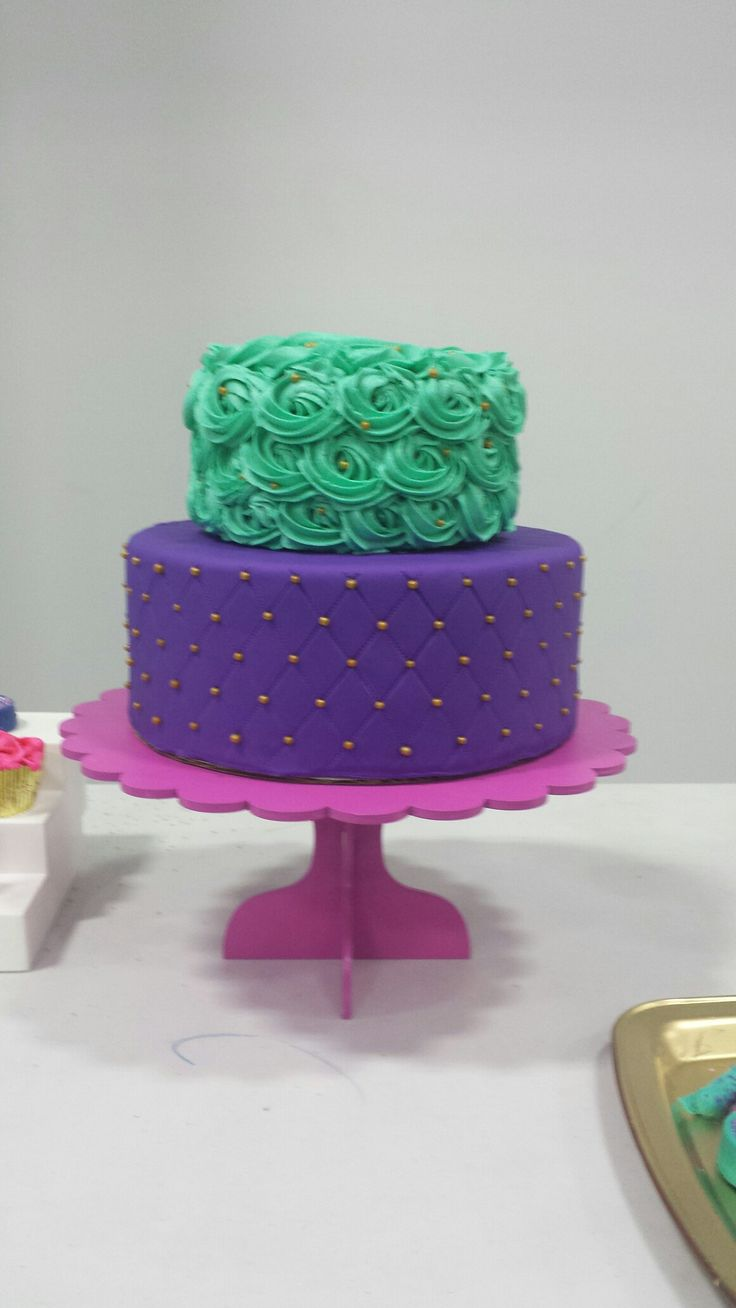 Shimmer and Shine Inspired Quilted and rosettes cake. https://www.instagram.com/p/BHGMd9JAxjh/