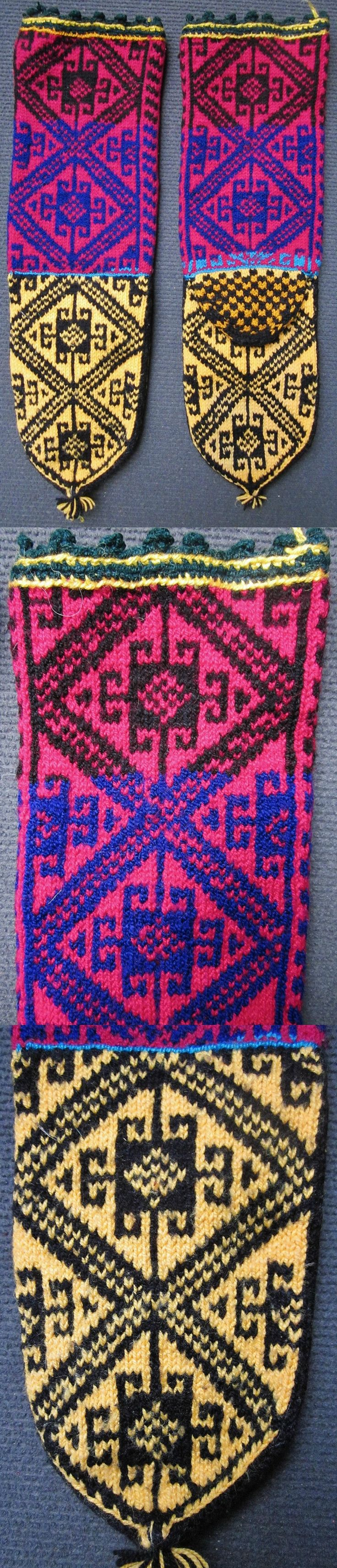 Traditional hand-knitted woollen stockings, for men.   From the Konya province.  Late 20th century.  The composite pattern shows 'koçboynuzu' (= 'ram's horn', which symbolises male fertility, male power and heroism) inside diamond-shaped 'ayna' (mirror), which is an amulet against the evil eye. (Inv.nr. çor014 - Kavak Costume Collection - Antwerpen/Belgium).