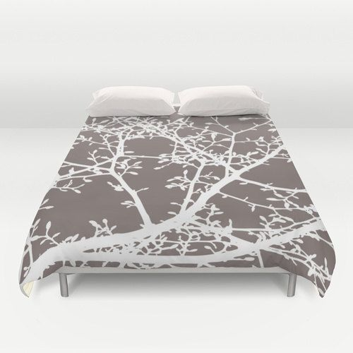 Magnolia Tree Duvet Cover - Woodland Tree Branches - Taupe Brown and White - Modern Bedding - Queen Size Duvet Cover - King Size Duvet Cover