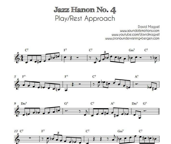 Jazz Hanon No. 4 – Play/Rest Approach | Pianoundervisning Bergen