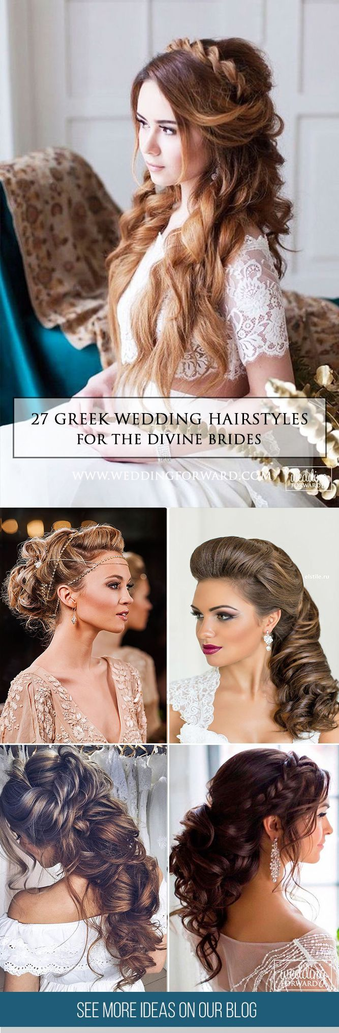 27 Greek Wedding Hairstyles For The Divine Brides  ❤ Greek wedding hairstyles are ideal for warm-weather nuptials. See more: http://www.weddingforward.com/greek-wedding-hairstyles/ #weddings #hairstyles