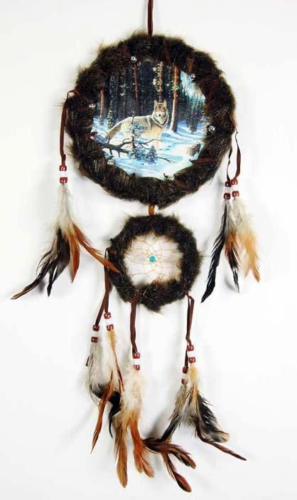 dream catcher wolf | Dream Catcher Brown Wolf In Snowy Forest 6.5 ... | For the Home/ DIY ...