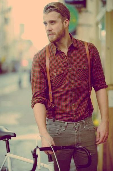 """beard, slicked hair, suspenders. oh wait, is that a fixed gear too?  I pinned this because he is not overly """"fancy"""" and he looks like he likes being in the country."""