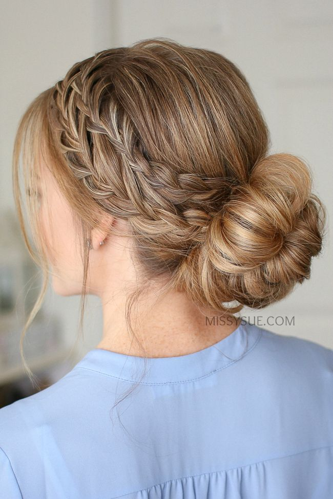 Waterfall French Braid Low Bun Missy Sue Flower Girl Hairstyles Updo French Braid Hairstyles Messy Bun With Braid