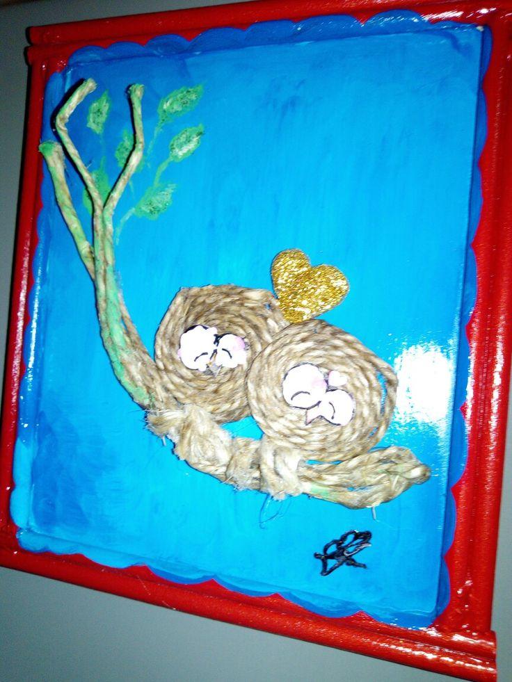 Cornicetta legno con gufetti in corda ,G.O