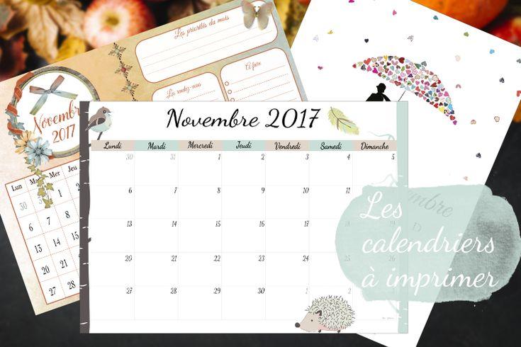 calendriers de novembre 2017