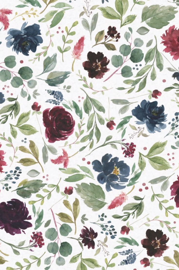 Burgundy Navy Blue Floral Watercolor Pattern Tissue Paper Blue