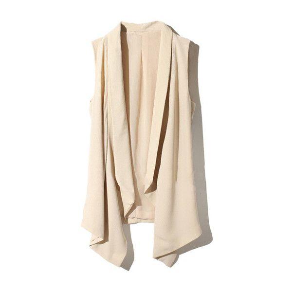 Irregular Cut Drape Beige Vest (97.680 COP) ❤ liked on Polyvore featuring outerwear, vests, jackets, cardigans, tops, beige vest, vest waistcoat, draped vests and pink vest